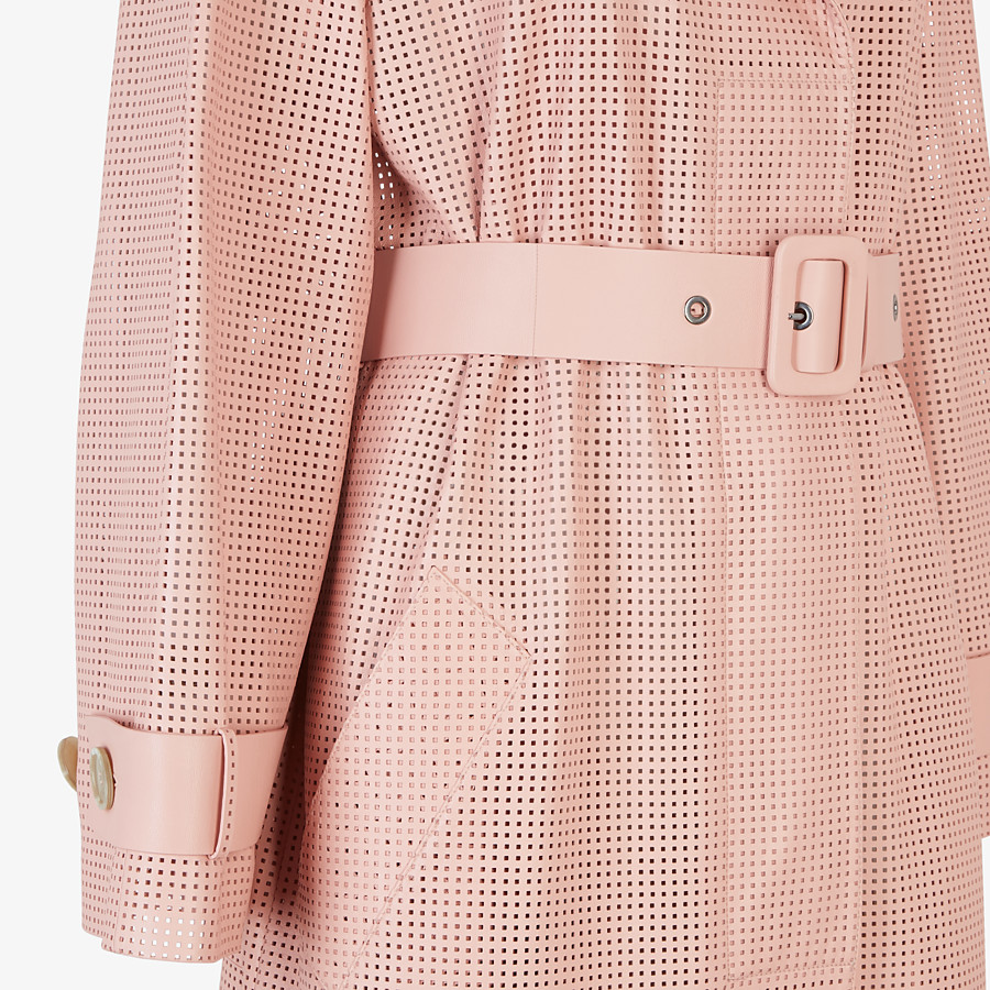FENDI OVERCOAT - Pink leather trench coat - view 3 detail