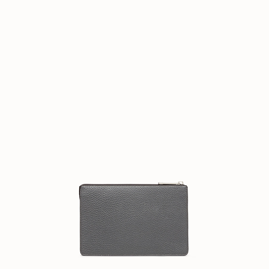 FENDI CLUTCH - Grey leather pochette - view 3 detail
