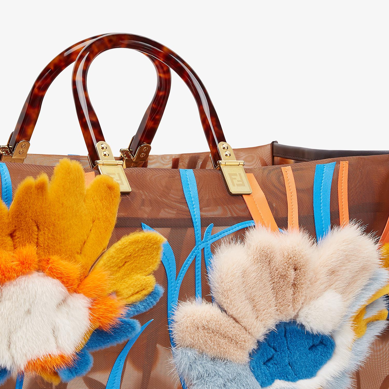 FENDI FENDI SUNSHINE XL - Shopper in rete e visone - vista 6 dettaglio