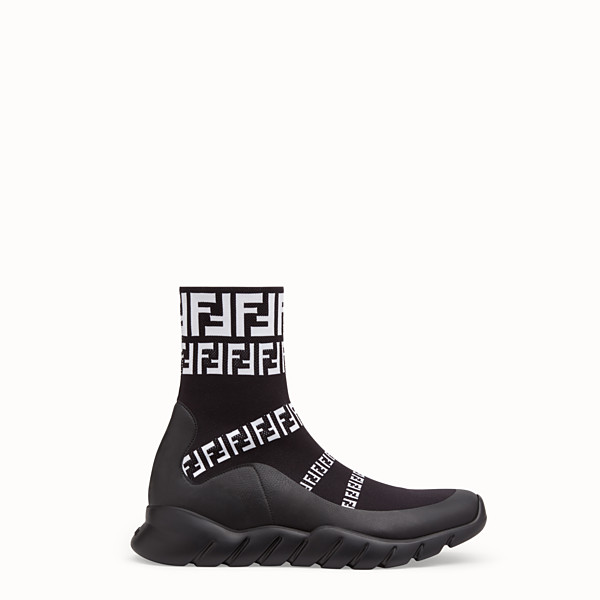 FENDI SNEAKERS - Black tech fabric high-tops - view 1 small thumbnail