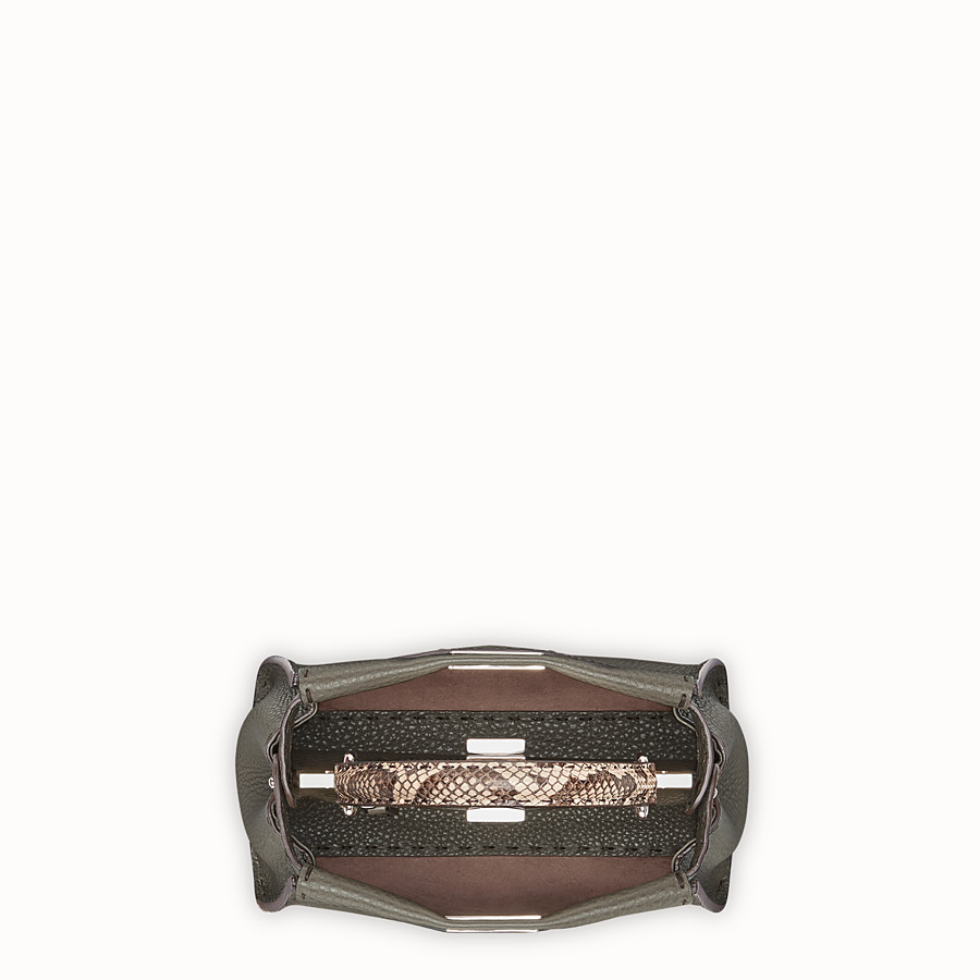 FENDI PEEKABOO MINI - Green leather bag with exotic details - view 4 detail