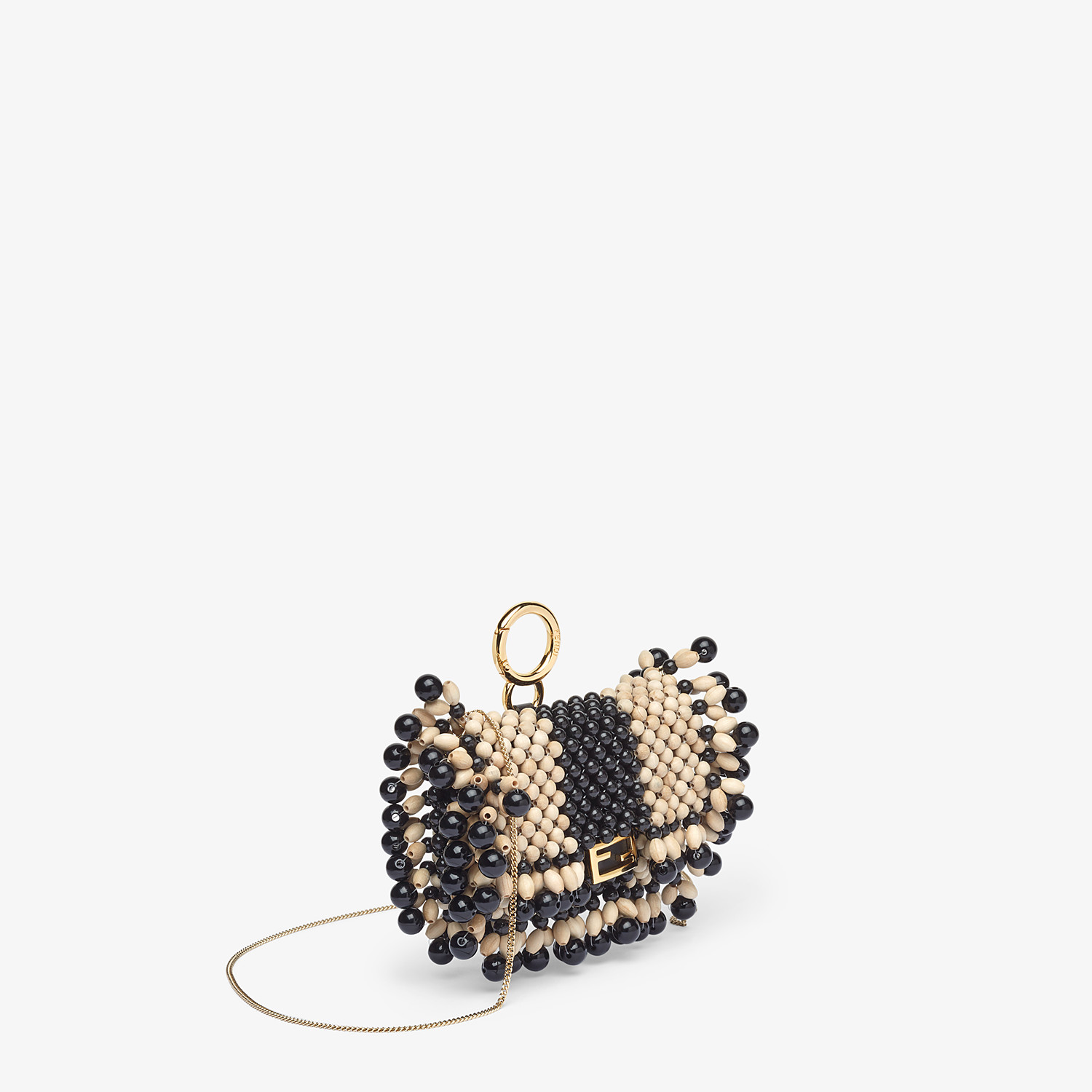 FENDI NANO BAGUETTE CHARM - Charm with beige beads - view 2 detail