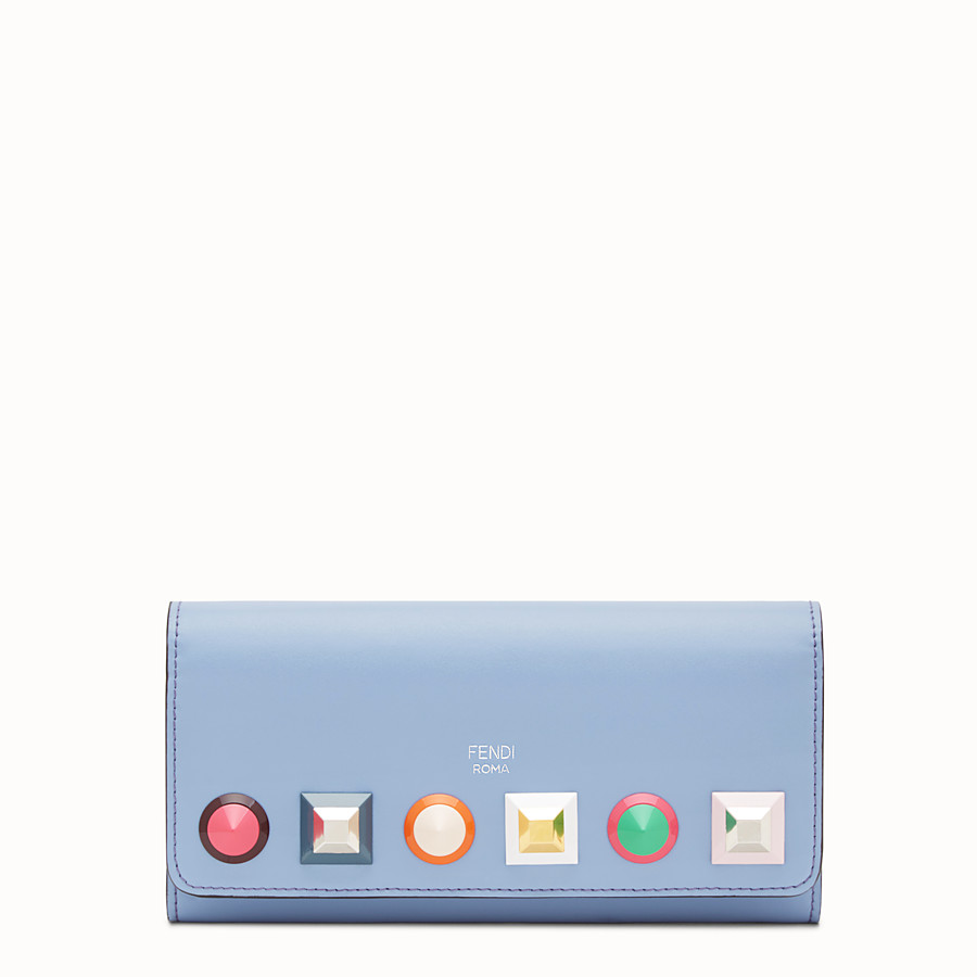 FENDI CONTINENTAL WITH CHAIN - Light blue leather wallet - view 1 detail