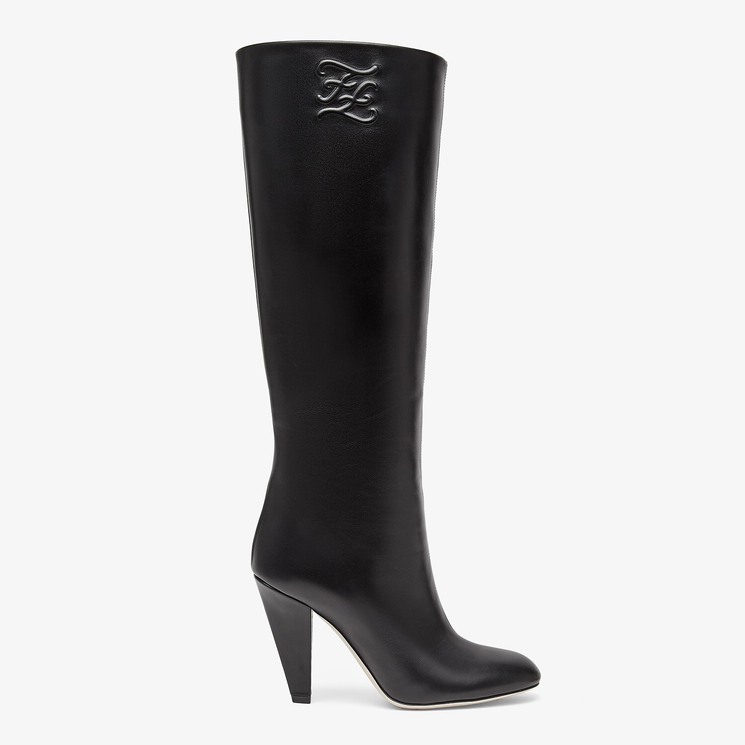 FENDI KARLIGRAPHY - Black leather, high-heeled boots - view 1 detail