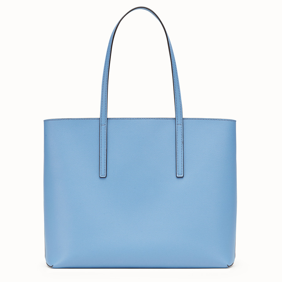 FENDI SHOPPING LOGO - Light blue leather shopper bag - view 3 detail