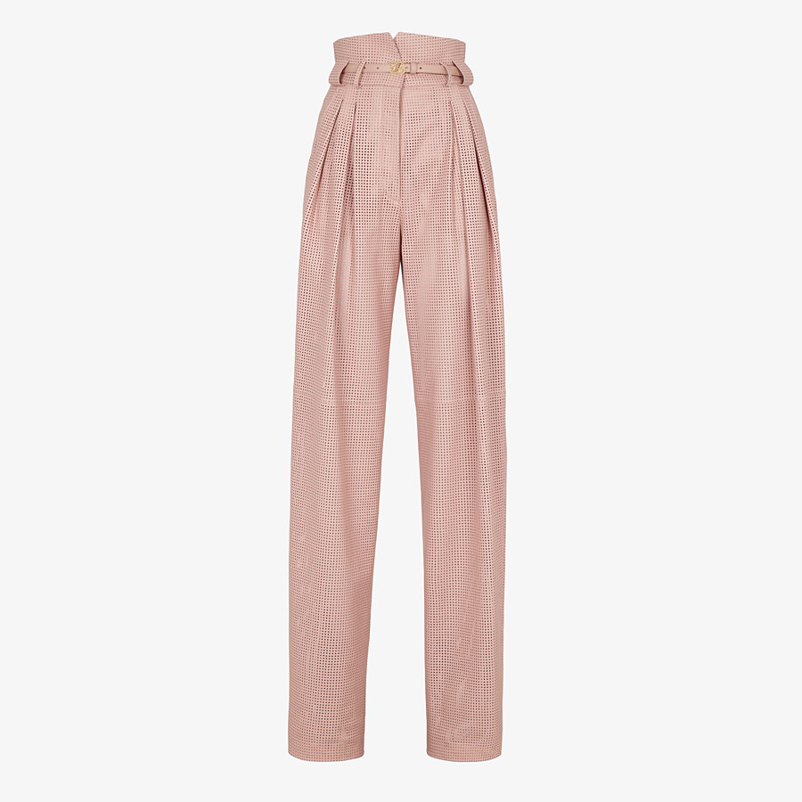 FENDI TROUSERS - Pink leather trousers - view 1 detail
