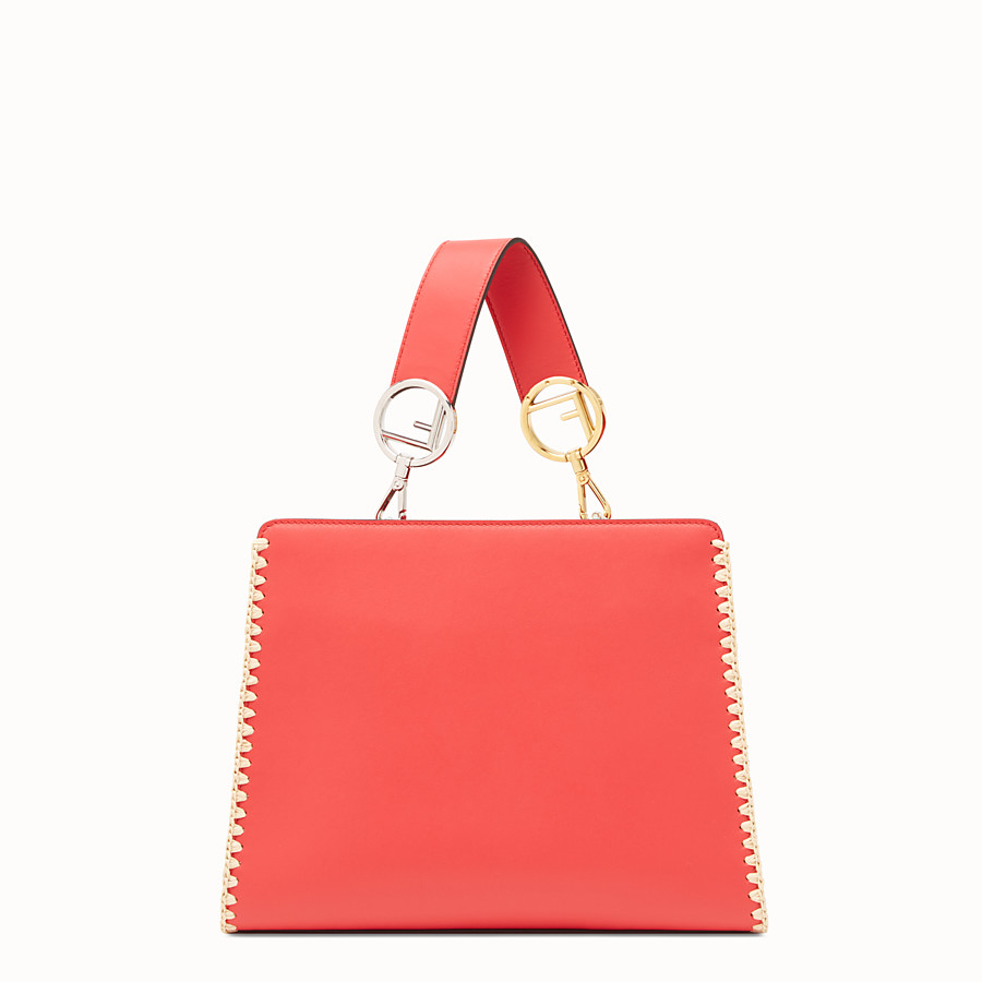 FENDI RUNAWAY SMALL - Red leather bag with exotic details - view 3 detail
