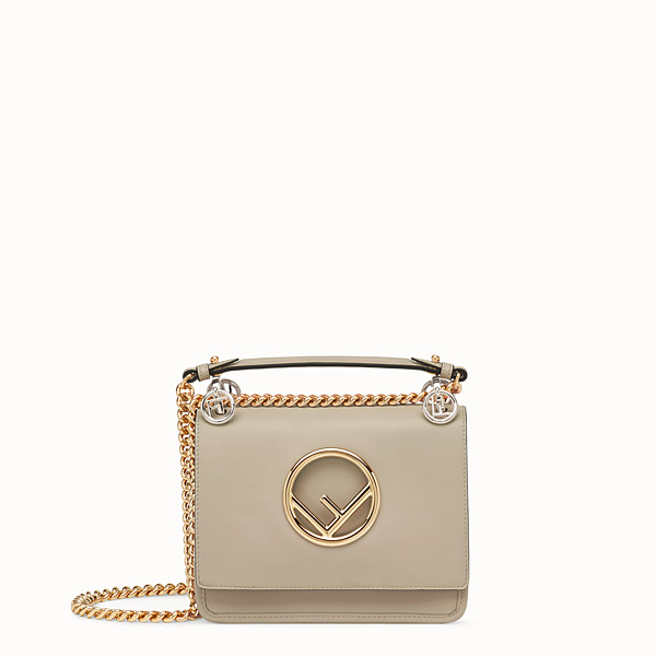 FENDI KAN I LOGO SMALL - Beige leather minibag - view 1 small thumbnail