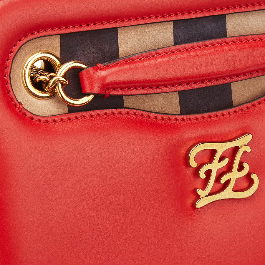 FENDI KARLIGRAPHY POCKET - Red leather bag - view 6 detail