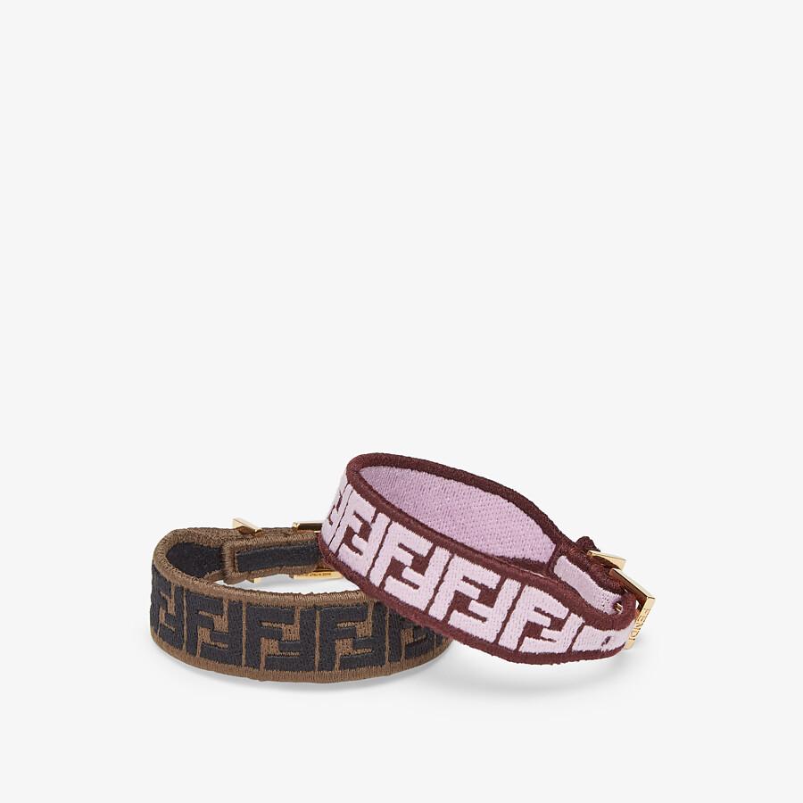 FENDI FF BRACELET - Pink and brown fabric bracelets - view 1 detail