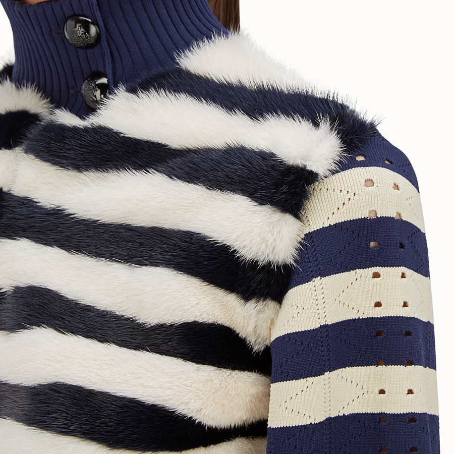 FENDI JACKET - Striped knitted jacket with fur - view 3 detail