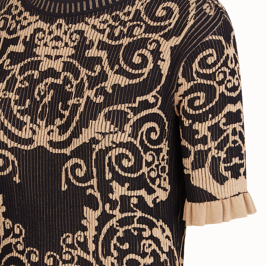 FENDI SWEATER - Black fabric sweater - view 3 detail