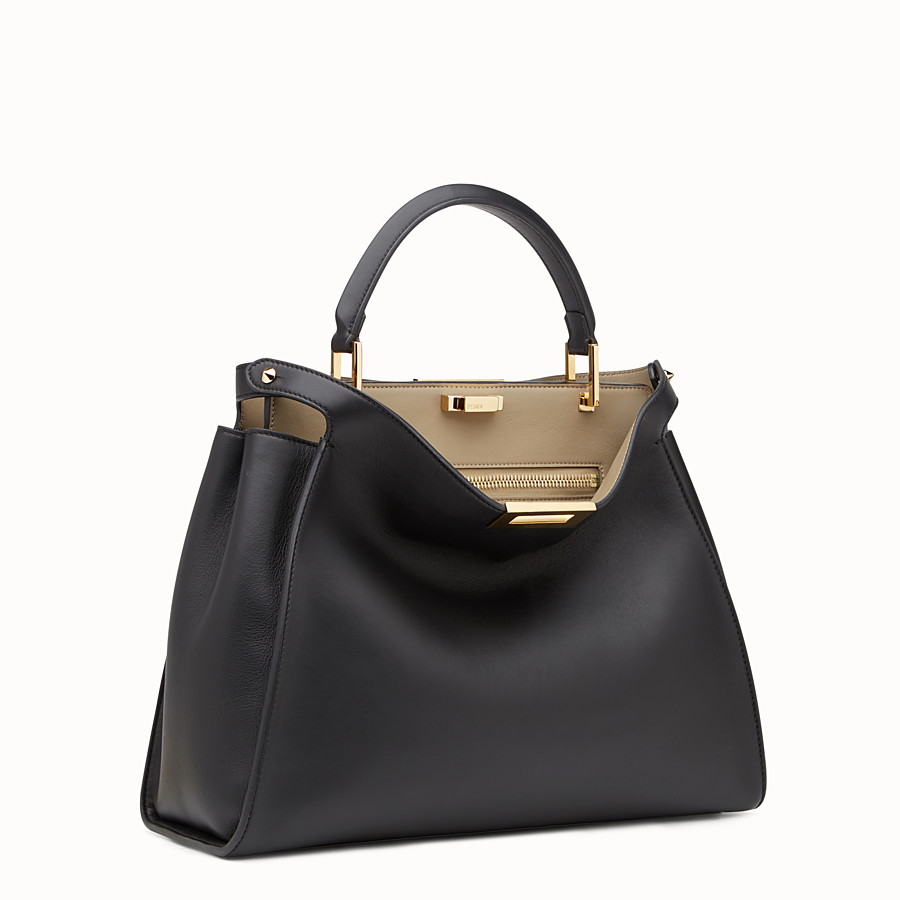 FENDI PEEKABOO ESSENTIAL - Black and beige leather handbag - view 2 detail