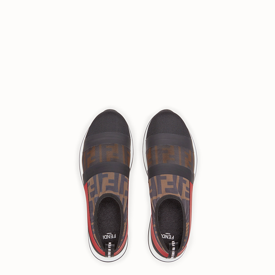 FENDI SNEAKERS - Multicolour mesh and tulle slip ons - view 4 detail