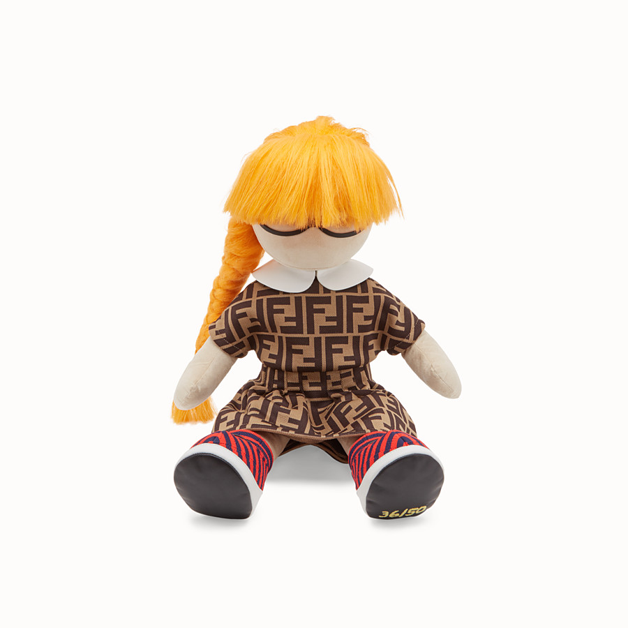 FENDI NUMBERED COLLECTABLE DOLL - Collectable doll in goatskin and jacquard cotton - view 2 detail