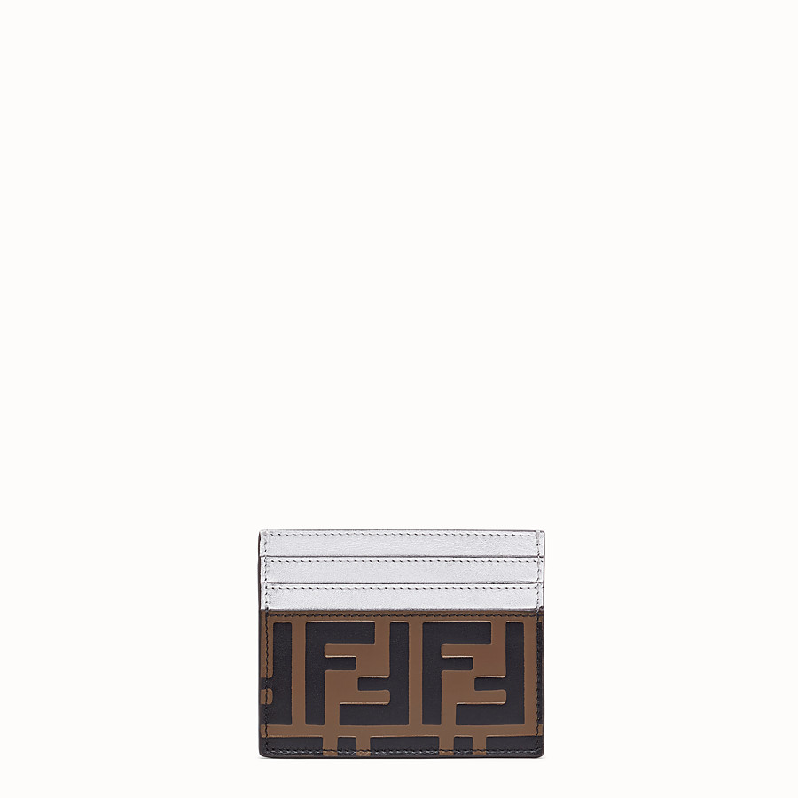 FENDI CARD HOLDER - Silver leather flat card holder - view 1 detail