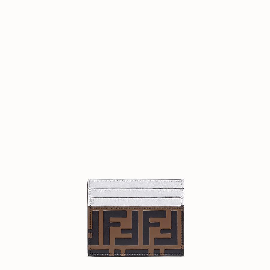 FENDI CARD HOLDER - Flat, silver leather cardholder - view 1 detail