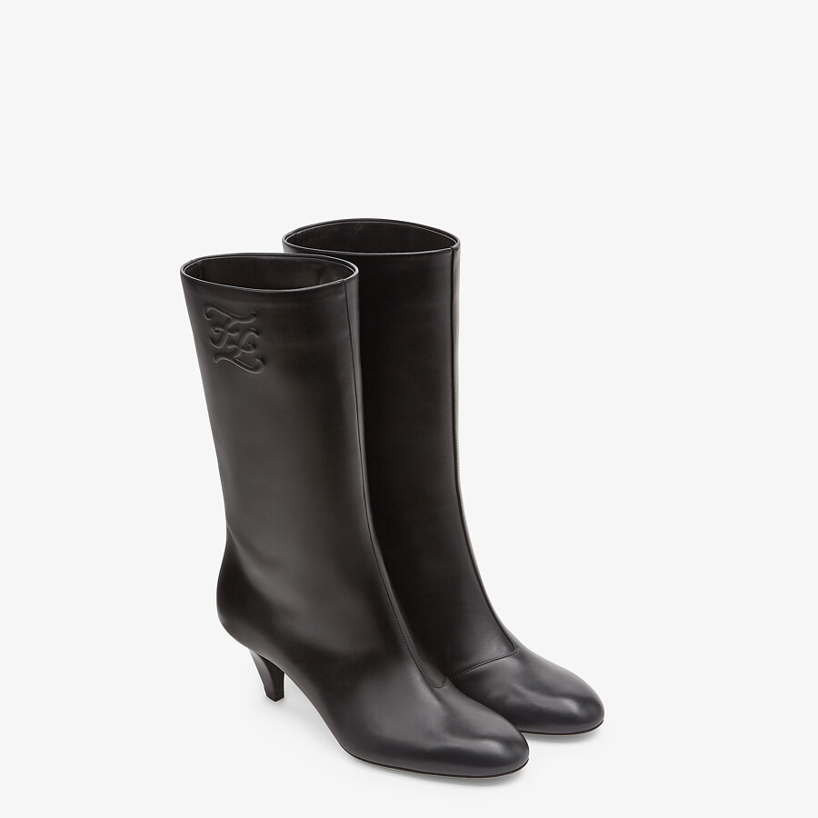 FENDI KARLIGRAPHY - Black leather boots with medium heel - view 4 detail