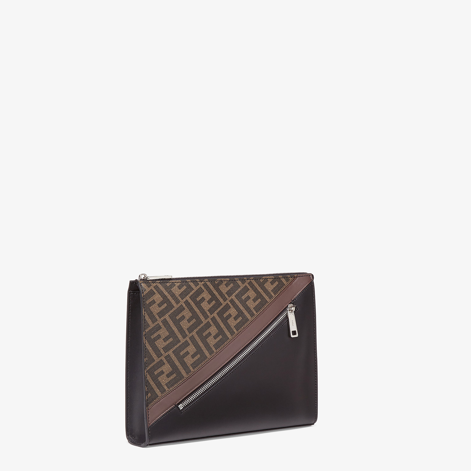 FENDI CLUTCH - Brown fabric pochette - view 2 detail