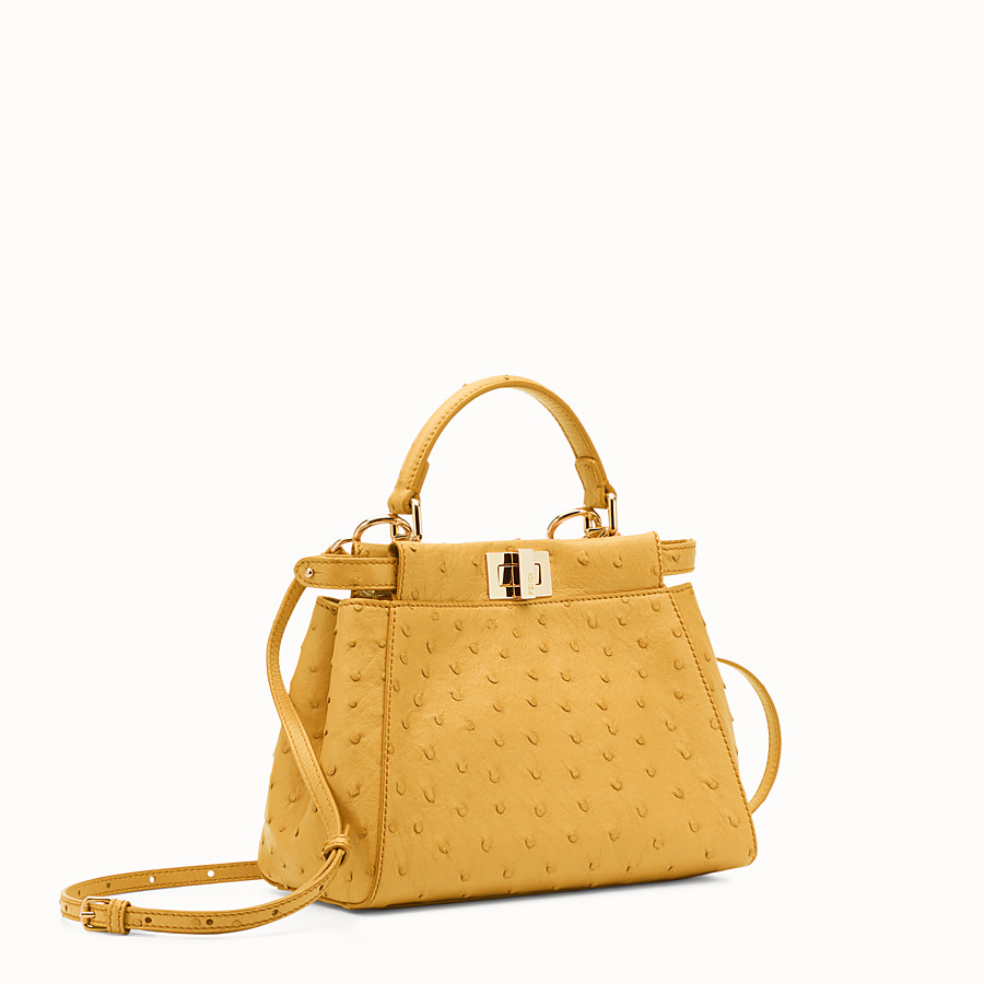 FENDI PEEKABOO MINI - Yellow ostrich leather handbag. - view 2 detail