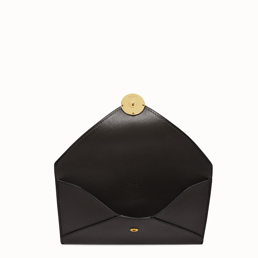 FENDI MEDIUM FLAT POUCH - Black leather pouch - view 3 detail