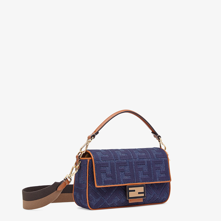 FENDI BAGUETTE - Tasche aus Denim in Blau - view 2 detail