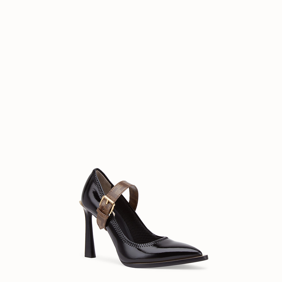 FENDI COURT SHOES - Mary Jane in glossy black neoprene - view 2 detail