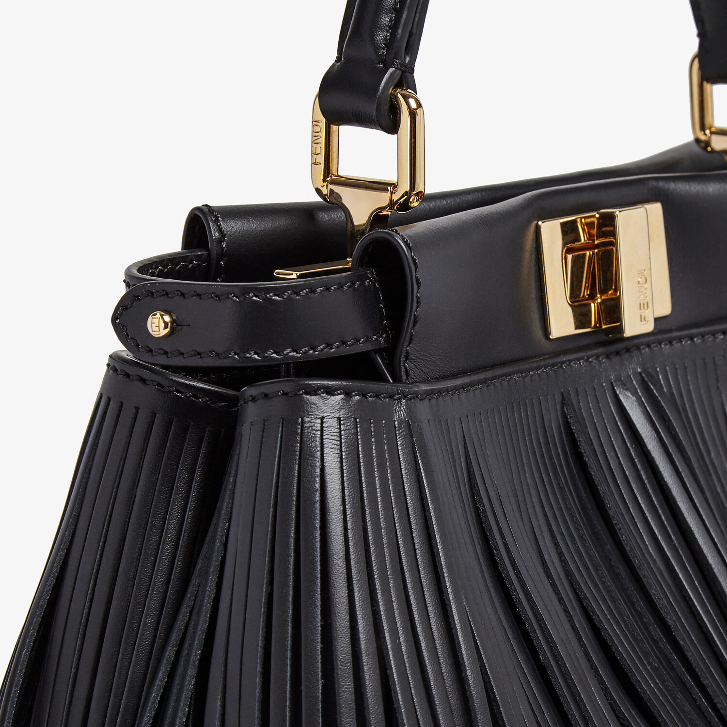 FENDI PEEKABOO ICONIC MINI - Black leather bag with fringes - view 6 detail