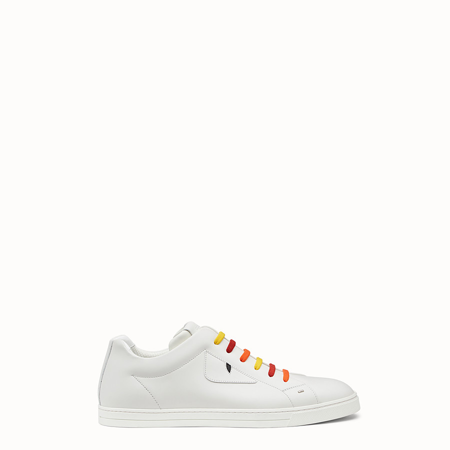 FENDI SNEAKER - White lace-ups with multicolour laces - view 1 detail