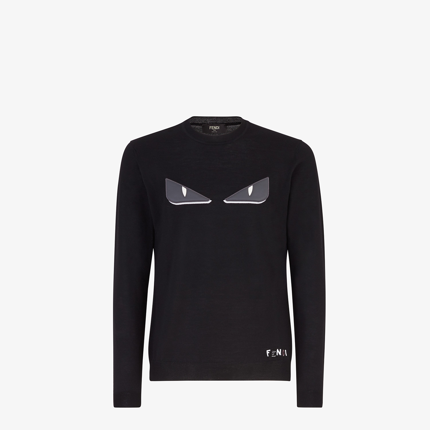 FENDI PULLOVER - Black wool sweater - view 1 detail