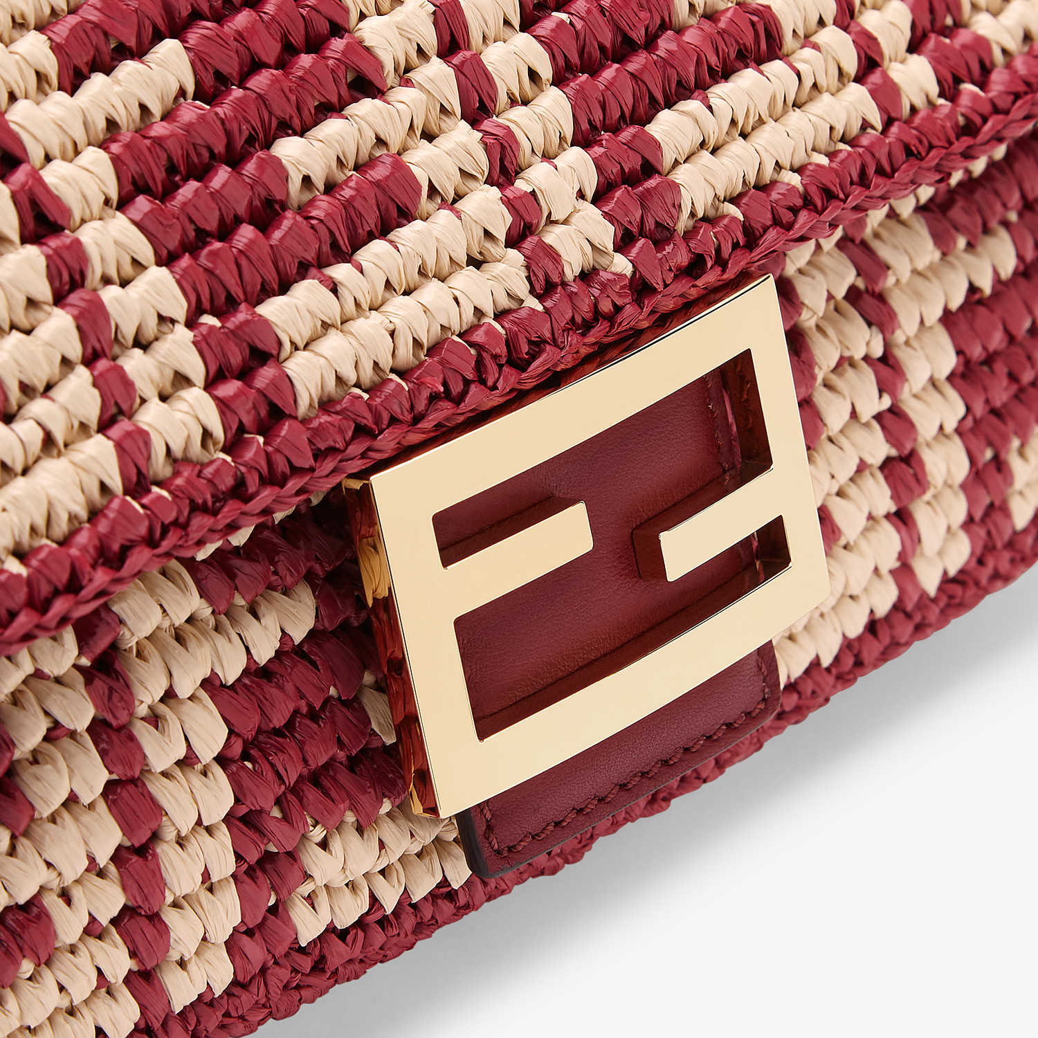 FENDI BAGUETTE - Burgundy raffia FF bag - view 6 detail