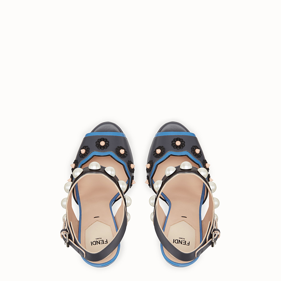 FENDI SANDALS - Heeled sandals in multicolour leather - view 4 detail