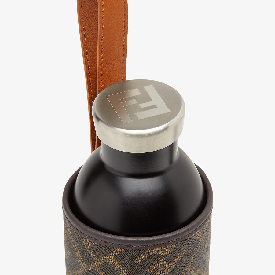 FENDI BOTTLE HOLDER - Bottle with brown fabric cover - view 3 detail