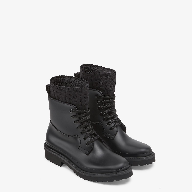 FENDI ROCKOKO - Black PVC biker boots - view 4 detail