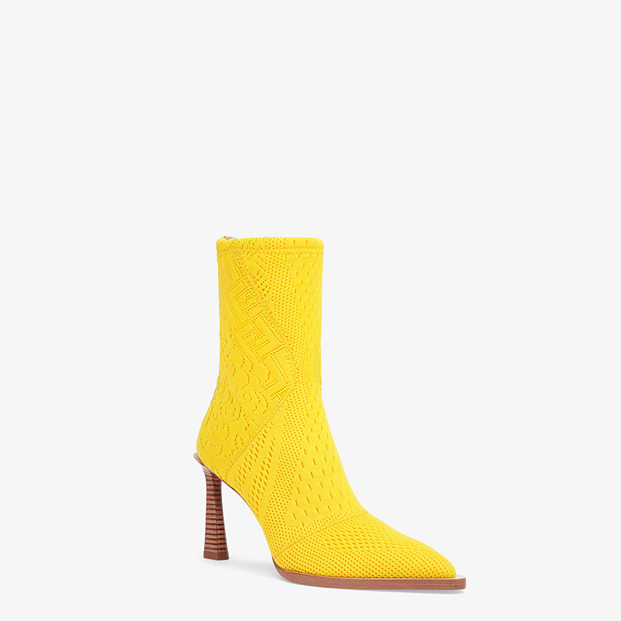 FENDI ANKLE BOOTS - High-tech yellow jacquard ankle boots - view 2 detail