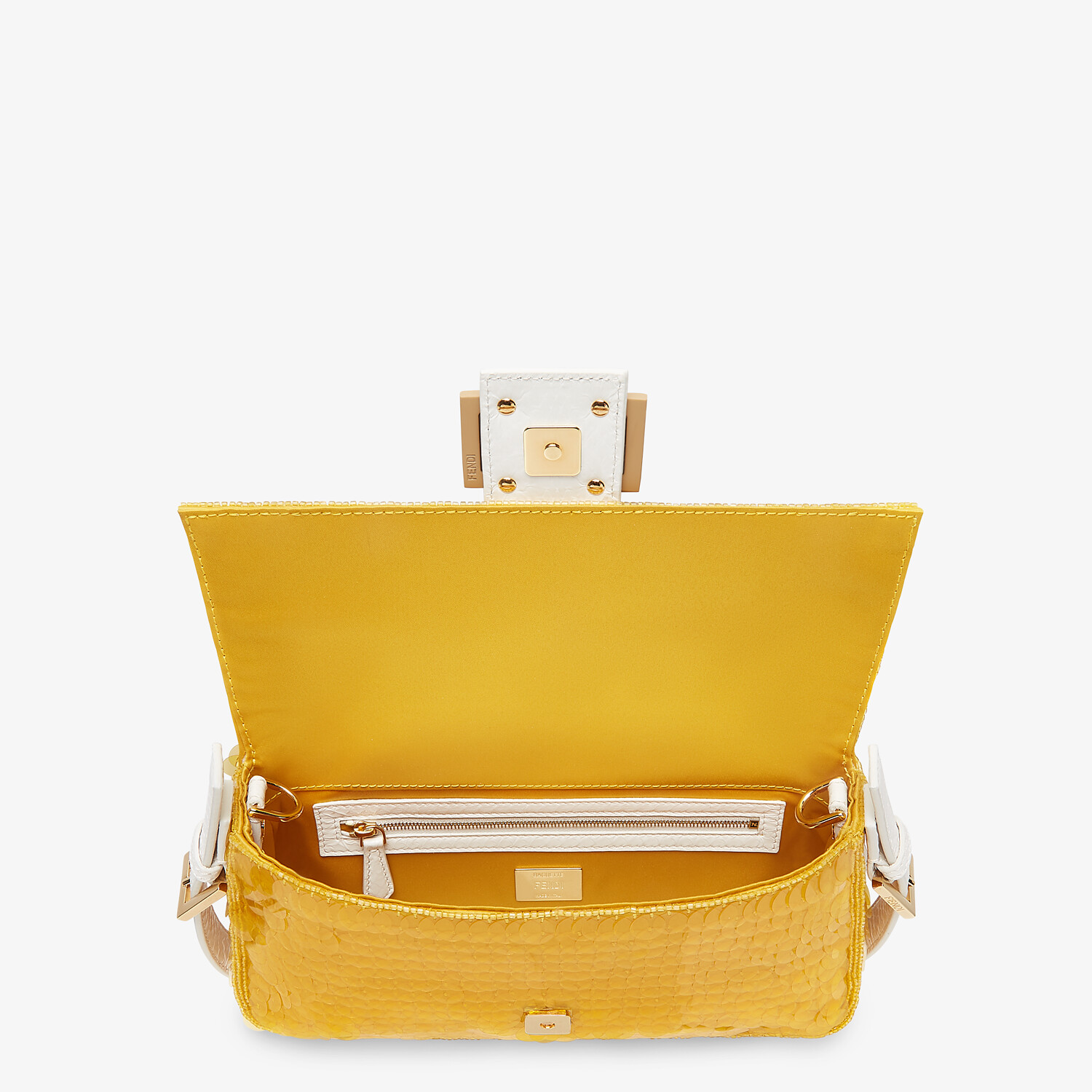 FENDI BAGUETTE 1997 - Yellow satin bag with sequins - view 5 detail