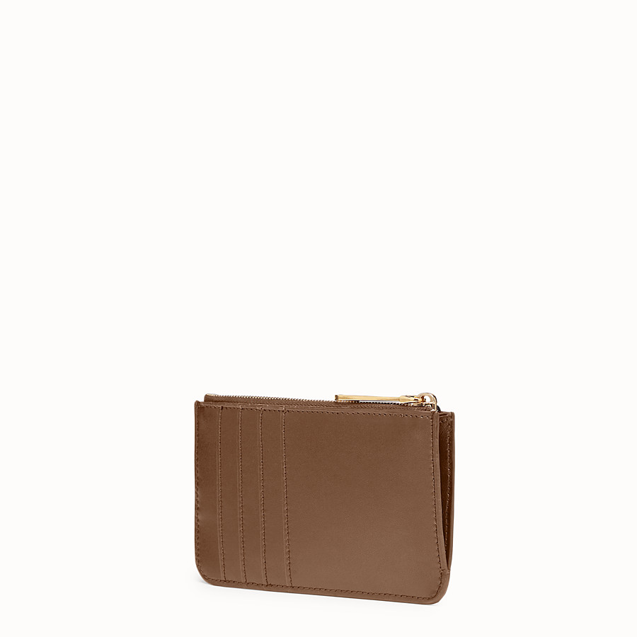 FENDI KEY RING POUCH - Brown leather pouch - view 2 detail