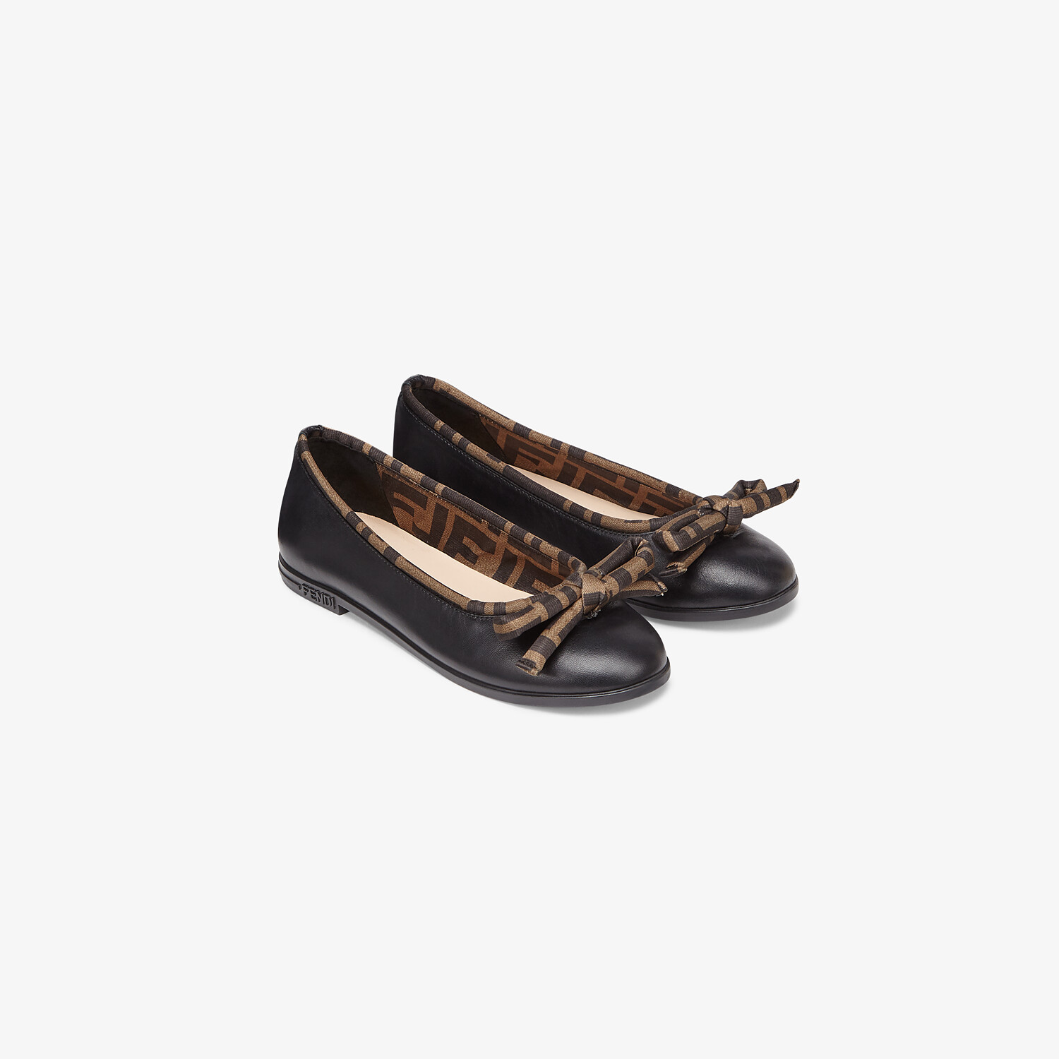 FENDI JUNIOR BALLERINAS - Black leather ballerinas with a touch of FF logo - view 2 detail