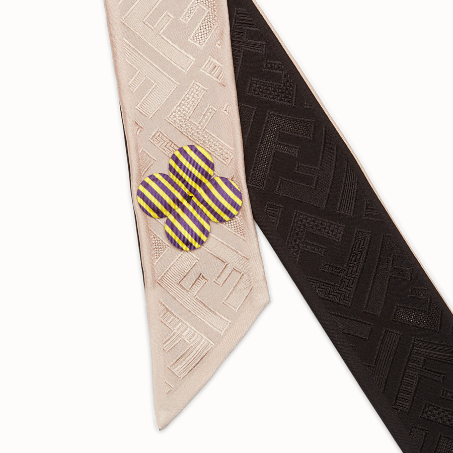 FENDI COLOR-BLOCK WRAPPY - Bandeau in pink and black silk - view 2 detail