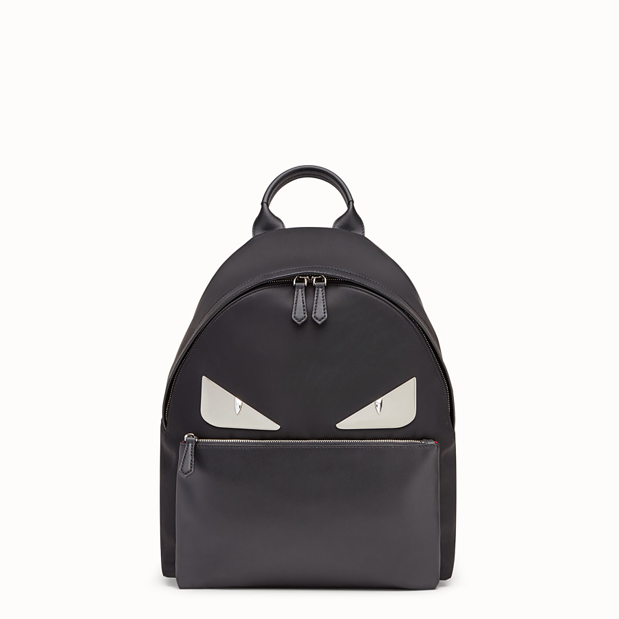 FENDI  - Nylon and leather backpack with inlays - view 1 detail