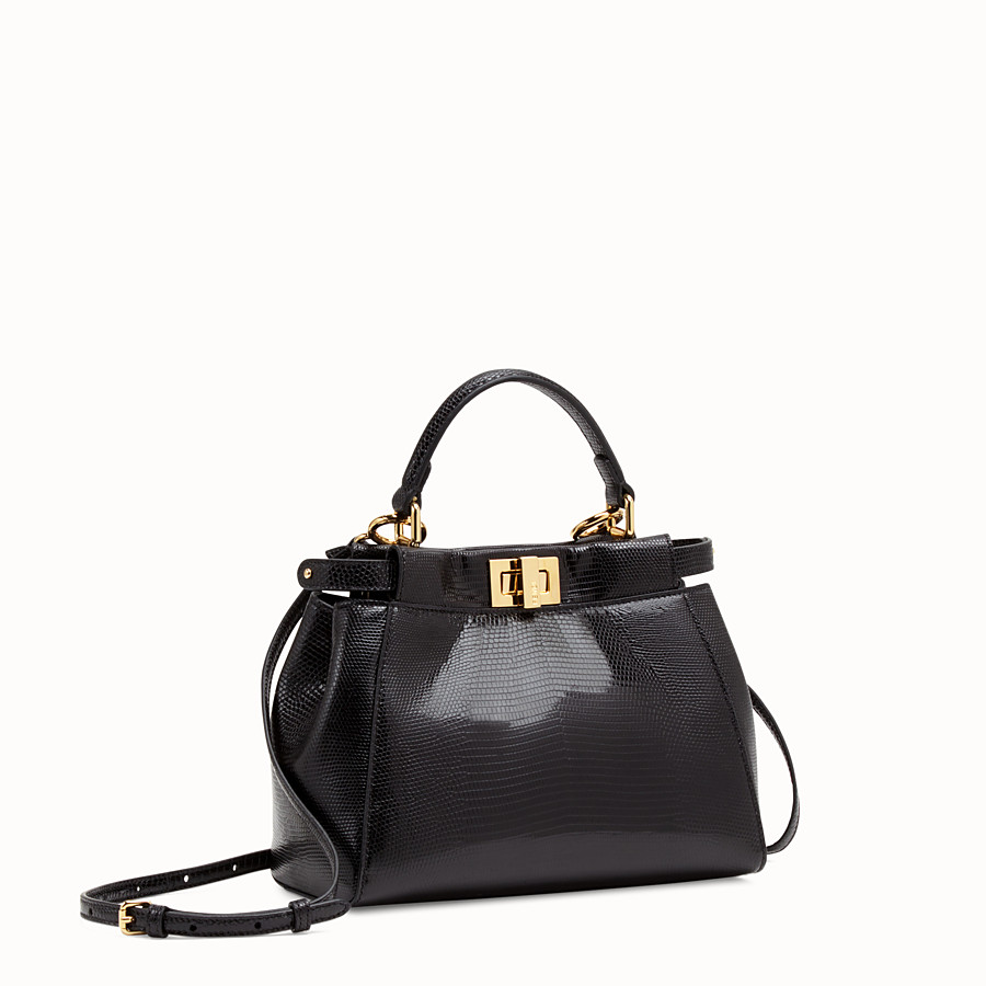 FENDI PEEKABOO MINI - Black lizard bag - view 3 detail