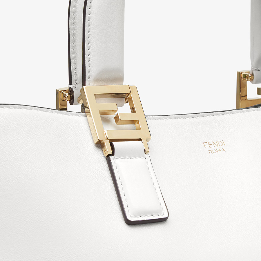 FENDI FF TOTE MEDIUM - White leather bag - view 6 detail