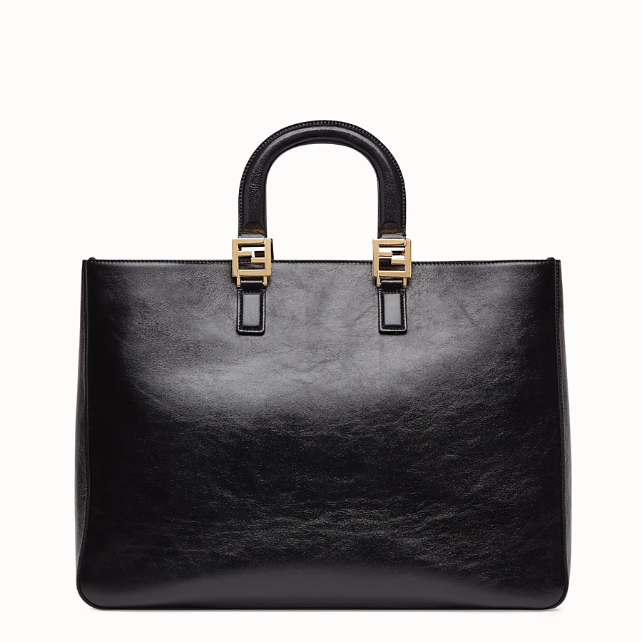 FENDI FF TOTE LARGE - Black leather bag - view 3 detail