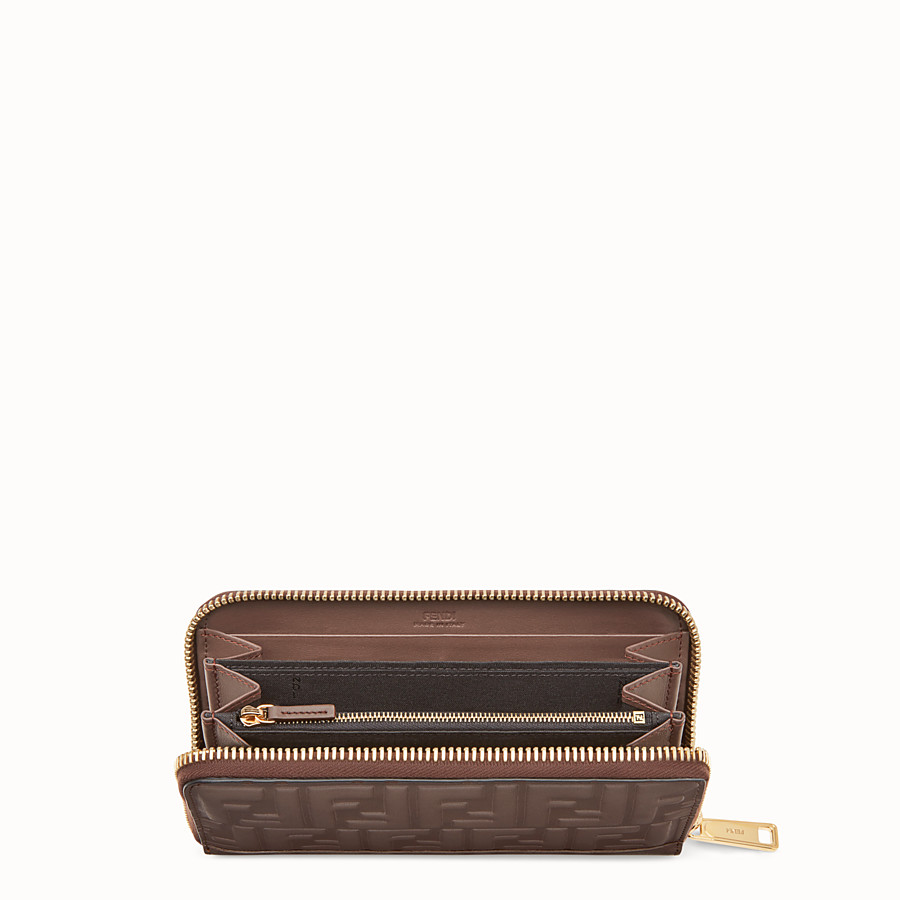 FENDI ZIP-AROUND - Brown leather wallet - view 3 detail
