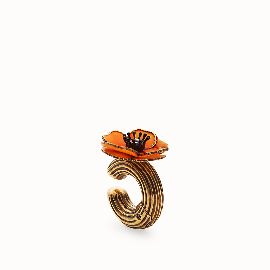 FENDI FLOWERS EARRINGS - Orange enamel earring - view 1 detail