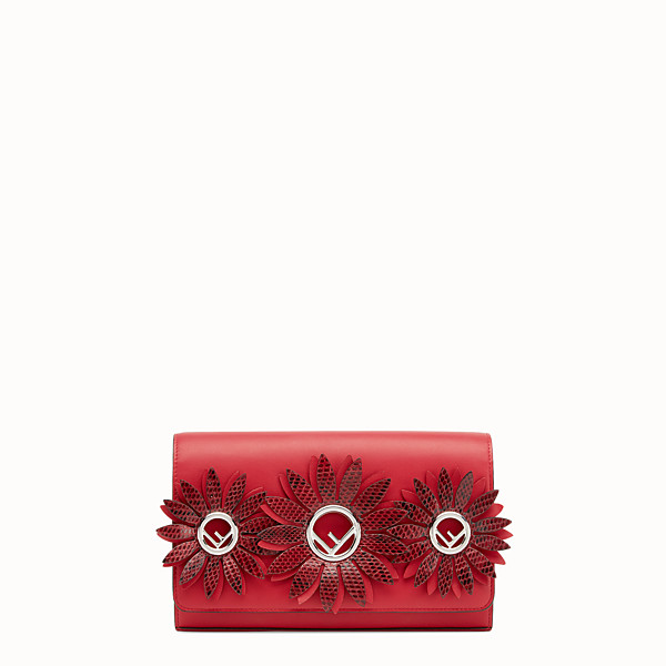 FENDI WALLET ON CHAIN WITH LOGO - Exotic red leather mini-bag - view 1 small thumbnail