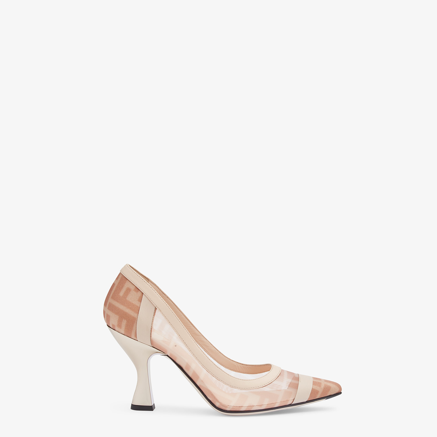 FENDI PUMPS - Colibrì in pink mesh and nude leather - view 1 detail