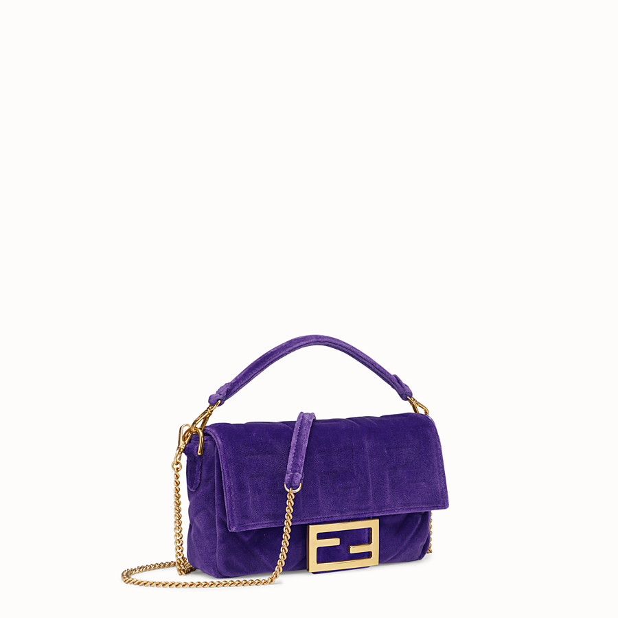 FENDI MINI BAGUETTE - Purple velvet bag - view 2 detail