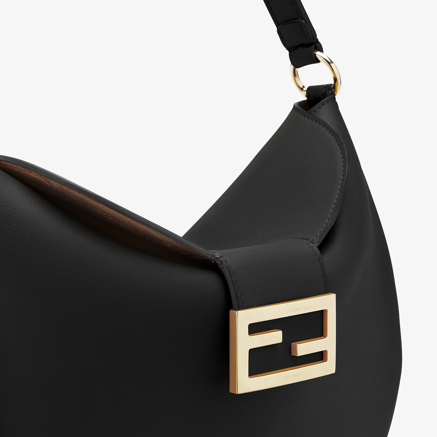 FENDI SMALL CROISSANT - Black leather bag - view 5 detail