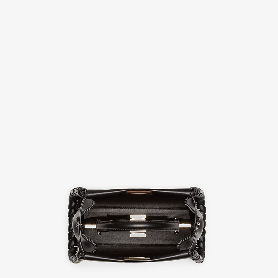 FENDI PEEKABOO ICONIC MINI - black nappa handbag with weave - view 4 detail